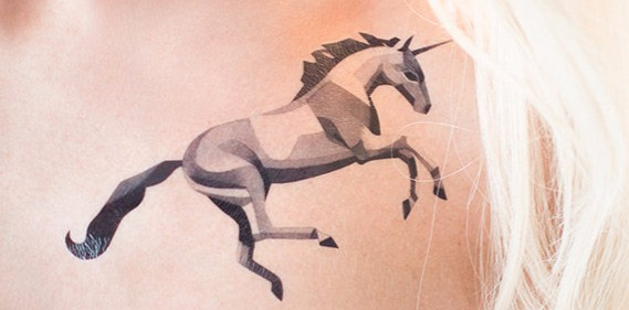 sasha unisex unicorn tattoo