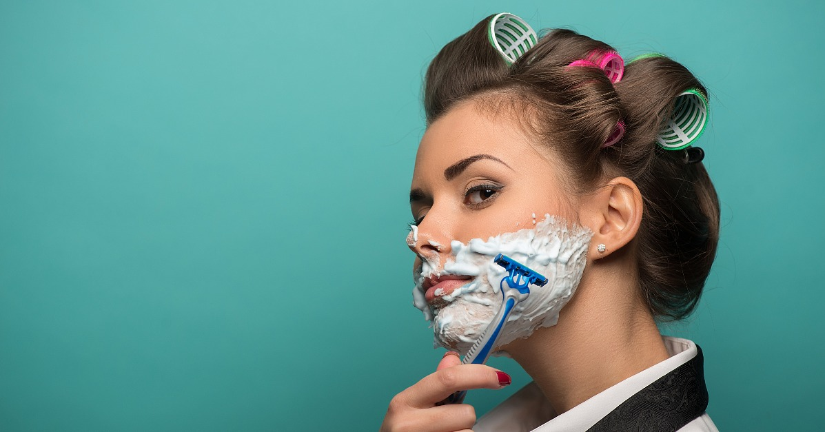 women shave face