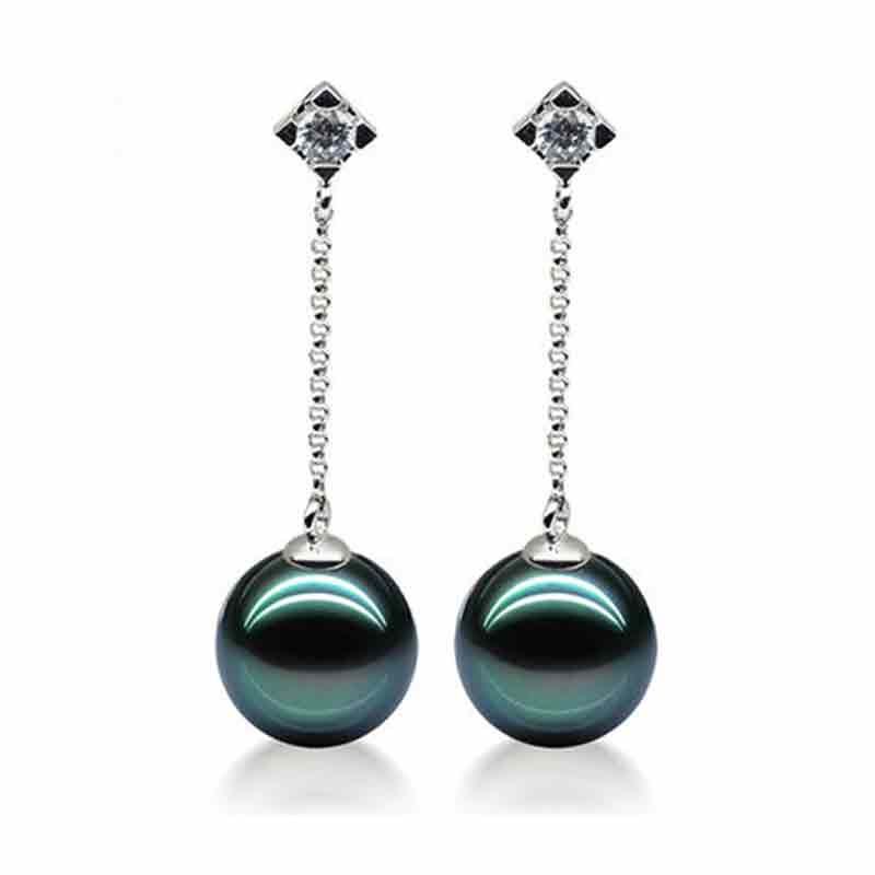 Timeless Earrings Black Tahitian Pearl