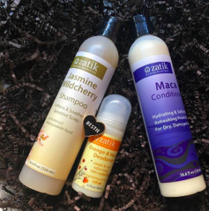Zatik Jasmine Wildcherry shampoo and Maca Tonic Hair Creme conditioner
