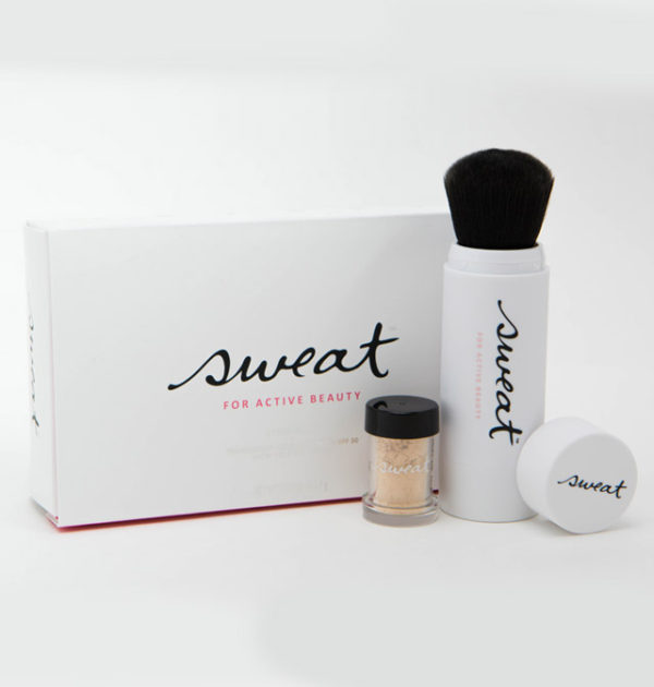 sweat cosmetics for active beauty powder and brush