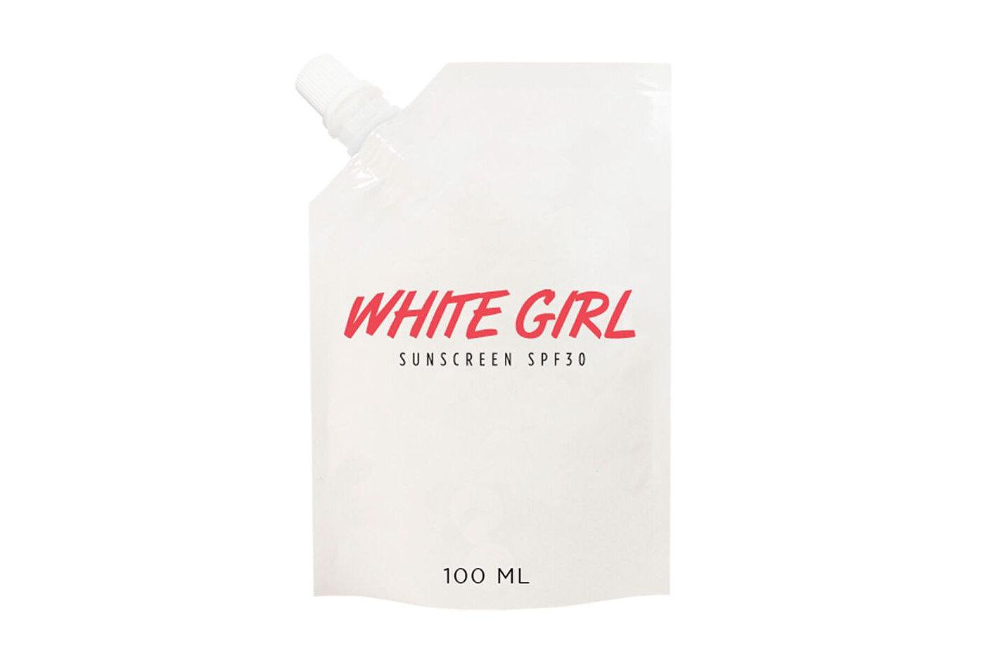 white girl sunscreen pouch